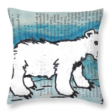 Hungry Polar Bear Throw Pillow by Jera Sky
