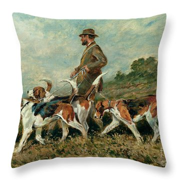 Hunting Exercise Throw Pillow by John Emms