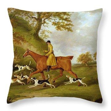 Huntsman And Hounds Throw Pillow