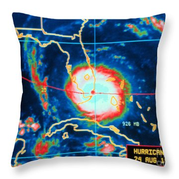 Hurricane Andrew, Infrared Image, 1992 Throw Pillow