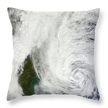 Hurricane Sandy Off The Southeastern Throw Pillow by Stocktrek Images