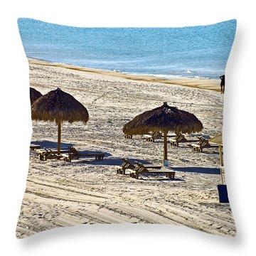 Huts On The Beach Throw Pillow by Susan Leggett