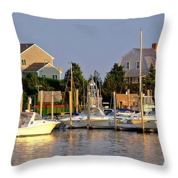 Hyannis Harbor At Sunset Throw Pillow