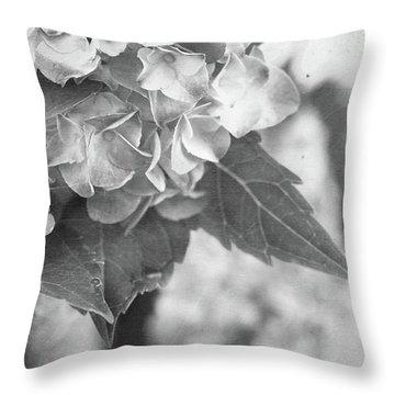Hydrangeas In Black And White Throw Pillow by Stephanie Frey