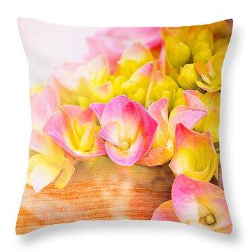 Hydrangeas In Bloom Throw Pillow by Elaine Manley
