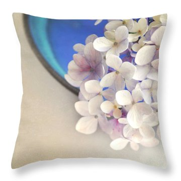 Hydrangeas In Blue Bowl Throw Pillow
