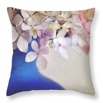 Hydrangeas In Deep Blue Vase Throw Pillow by Lyn Randle