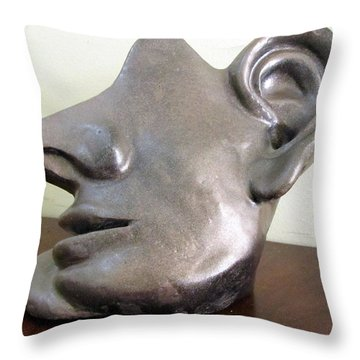 I Am All Ears Head Face With Ears Only Large Nose No Eyes Huge Ears Throw Pillow by Rachel Hershkovitz