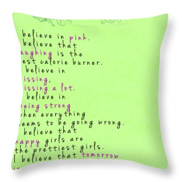 I Believe In Pink - Audrey Hepburn Throw Pillow by Georgia Fowler