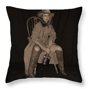 I Dare Ya To Try Throw Pillow by Cindy Nunn