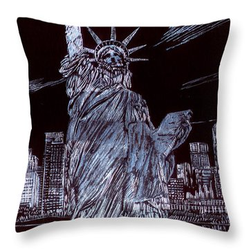 I Love Nyc Throw Pillow by Saad Hasnain
