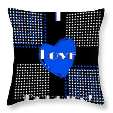 I Love Puppies Throw Pillow by Andee Design