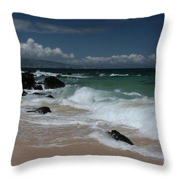 i miha kai i ka aina Hookipa Beach Maui North Shore Hawaii Throw Pillow by Sharon Mau