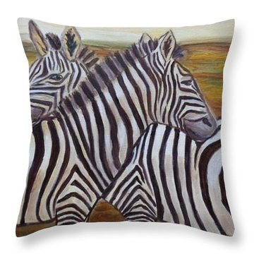 Throw Pillow featuring the painting I Think Its This Way by Julie Brugh Riffey