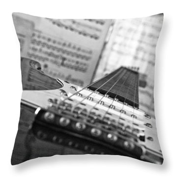 Ibanez Six String Black And White Throw Pillow