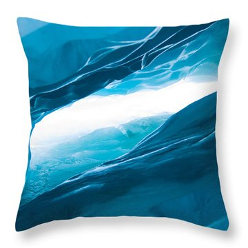 Ice Cave On The Glacier Throw Pillow by John White