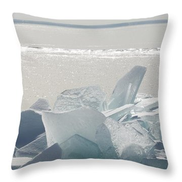 Ice Chunks On The Shores Of Lake Throw Pillow