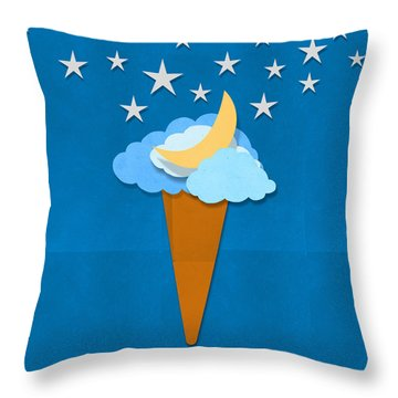 Ice Cream Design On Hand Made Paper Throw Pillow