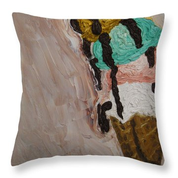 Throw Pillow featuring the painting Ice Cream Dripping And Falling Over by M Zimmerman