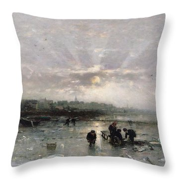 Ice Fishing Throw Pillow by Ludwig Munthe