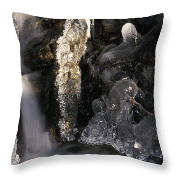 Ice Is Enrusting A Waterfall Throw Pillow by Ulrich Kunst And Bettina Scheidulin