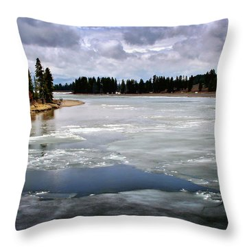 Ice On The Yellowstone River Throw Pillow by Ellen Heaverlo