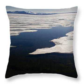 Throw Pillow featuring the photograph Ice On Yellowstone Lake by J L Woody Wooden