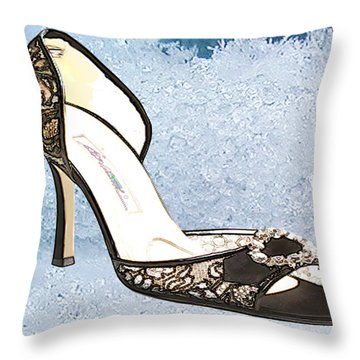 Ice Princess Lace Pumps Throw Pillow by Elaine Plesser