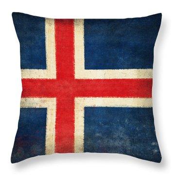 Iceland Flag Throw Pillow by Setsiri Silapasuwanchai