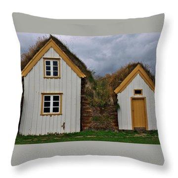 Icelandic Turf Houses Throw Pillow