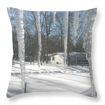 Throw Pillow featuring the photograph Icicles Through The Window Glass by Pamela Hyde Wilson