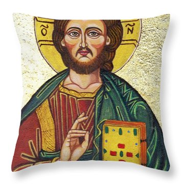 Icon Of Jesus As Christ Pantocrator Throw Pillow by Ion vincent DAnu