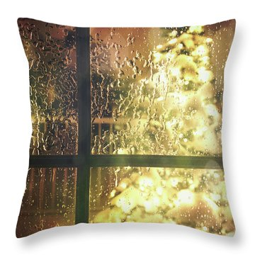 Icy Window With Holiday Tree Full Of Lights Throw Pillow by Sandra Cunningham