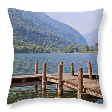 idyllic tarn in Italy Throw Pillow