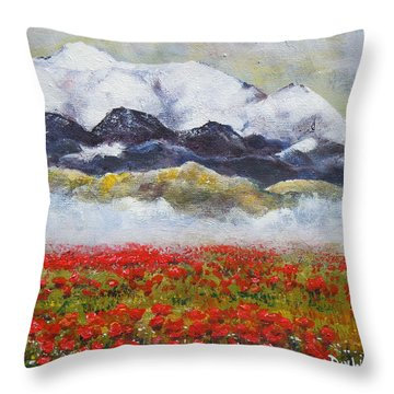 Throw Pillow featuring the painting If Rose Had Roses by Dan Whittemore