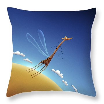Illustration Of A Giraffe Learning Throw Pillow by Vlad Gerasimov