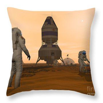 Illustration Of Astronauts Setting Throw Pillow by Walter Myers