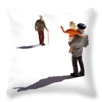 Illustration Of Elderlys Throw Pillow by Bernard Jaubert
