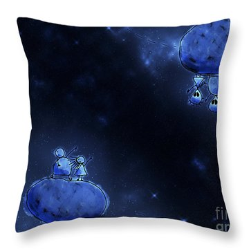 Illustration Of Humans And Aliens Throw Pillow by Vlad Gerasimov