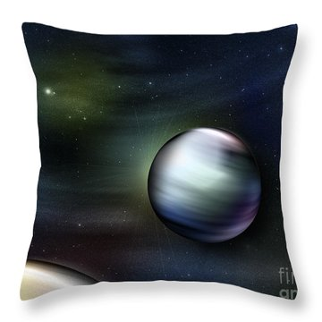 Illustration Of Planets In Outer Space Throw Pillow by Vlad Gerasimov