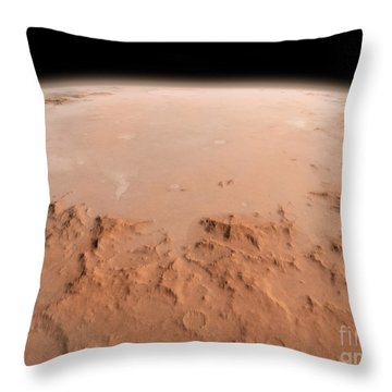 Illustration Of The Argyre Impact Basin Throw Pillow by Walter Myers