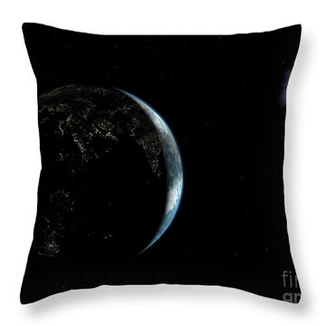 Illustration Of The City Lights Throw Pillow by Walter Myers