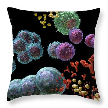 Throw Pillow featuring the digital art Immune Response Antibody 2 by Russell Kightley