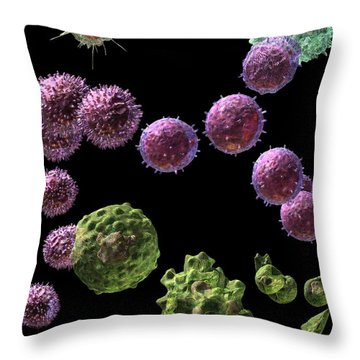 Throw Pillow featuring the digital art Immune Response Cytotoxic 2 by Russell Kightley