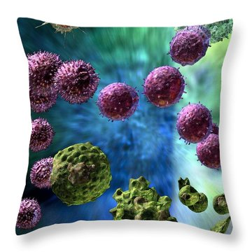 Throw Pillow featuring the digital art Immune Response Cytotoxic 3 by Russell Kightley