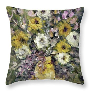 Impression Of Flowers Bouquet Yellow Vase On White Table Purple Flowers Green Background Stained   Throw Pillow by Rachel Hershkovitz