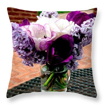 Throw Pillow featuring the photograph Impressionist Floral Bouquet by Karen Lee Ensley