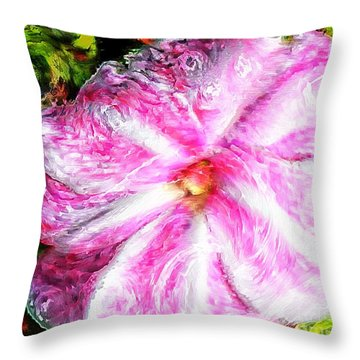Impressionistic  Candy Cane Impatiens Throw Pillow by Barbara Griffin