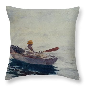 In A Boat Throw Pillow by Winslow Homer