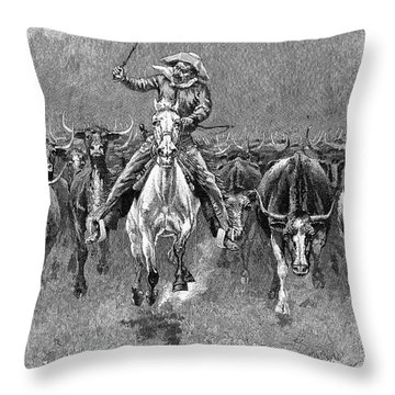 In A Stampede Throw Pillow by Granger